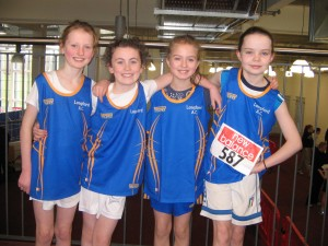 Connaught Indoor Championships: the Longford AC U12 Girls Relay Team that ran in competition on 1st March 2014 at AIT   Aideen Mulligan, Sarah Mc Phillips, Orlaith Mulligan & Jenny Purdy