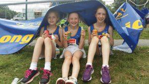 Longford AC Katie, Sian & Jane, 11 June 2016 at Connacht Outdoor T&F, Dangan